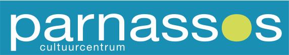 Par-cultuurcentrum-logo wit lime - blauwe achtergrond